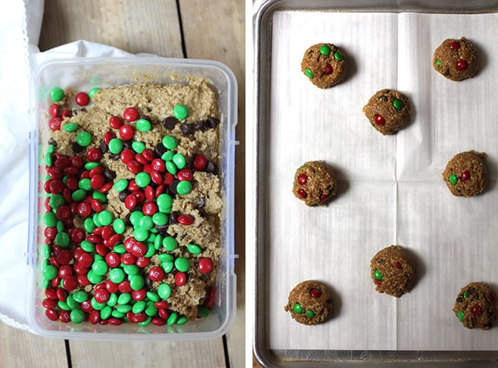 Overhead process shots of 1) the monster cookie dough with the m&m's poured on top, in a plastic container, and 2) 8 monster cookie balls on a baking sheet.