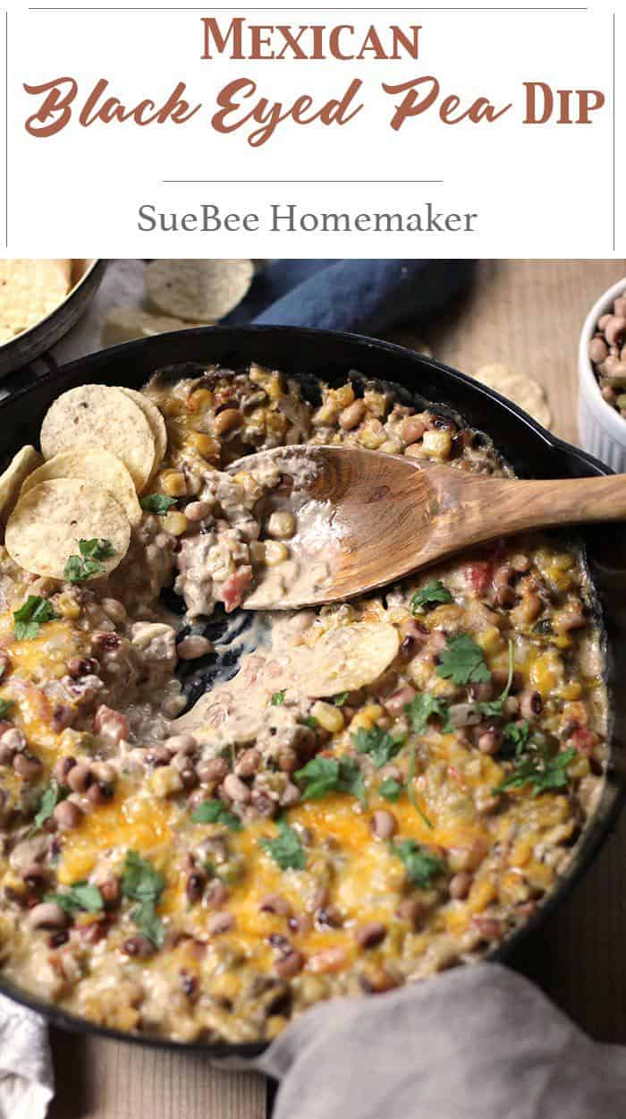 Mexican Black-Eyed Pea Dip is definitely on our New Year's menu. Southern Tradition states that black-eyed peas bring you luck in the new year! | suebeehomemaker.com | #mexicandip #dip #blackeyedpeas #blackeyedpeadip #dipandchips