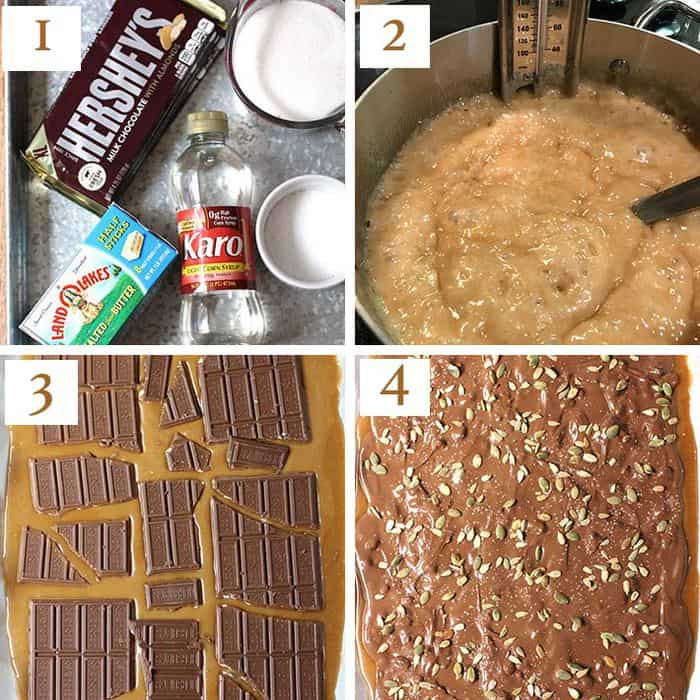 Overhead process shots of 1) the toffee ingredients on a gray tray, 2) the toffee mixture boiling in a pan with a candy thermometer attached, 3) the toffee mixture in a baking sheet with chocolate bars on top, and 4) the finished toffee, sprinkled with nuts.