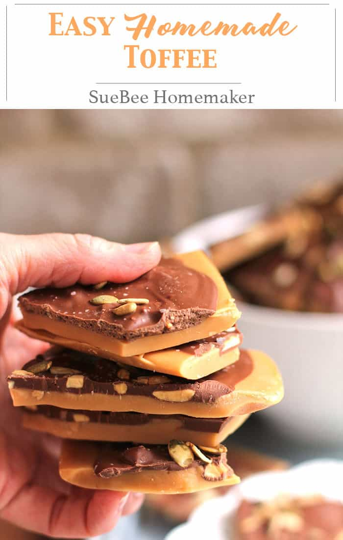 Easy Homemade Toffee is the ultimate holiday treat and reminds me of my mom, who made this every year. Only eight ingredients and patience necessary! | suebeehomemaker.com | #homemadetoffee #toffee #holidaybaking #holidaycandy