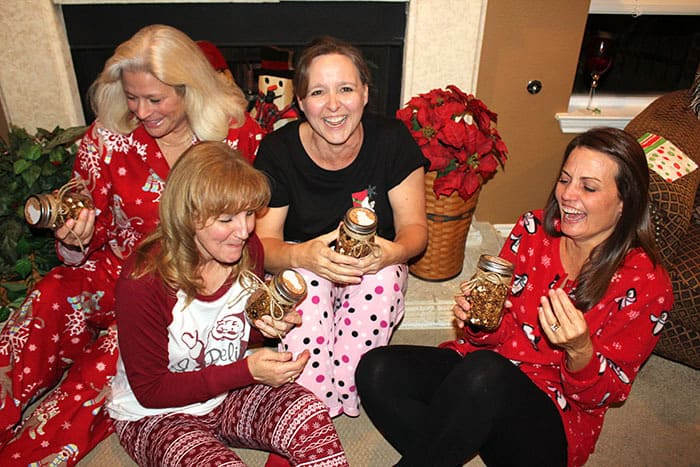 The best Christmas celebrations are spent with people you love. In pajamas with slippers, robes, and Sangria. Pigtails optional. | suebeehomemaker.com
