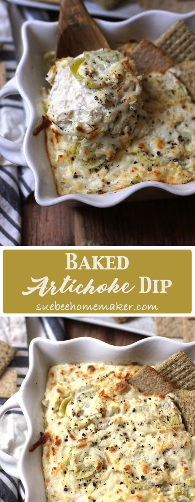 My Baked Artichoke Dip is all kinds of creamy deliciousness in a bowl. Ten minute prep, 30 minutes in the oven, and it's snack time. Bring on Game Day! | suebeehomemaker.com