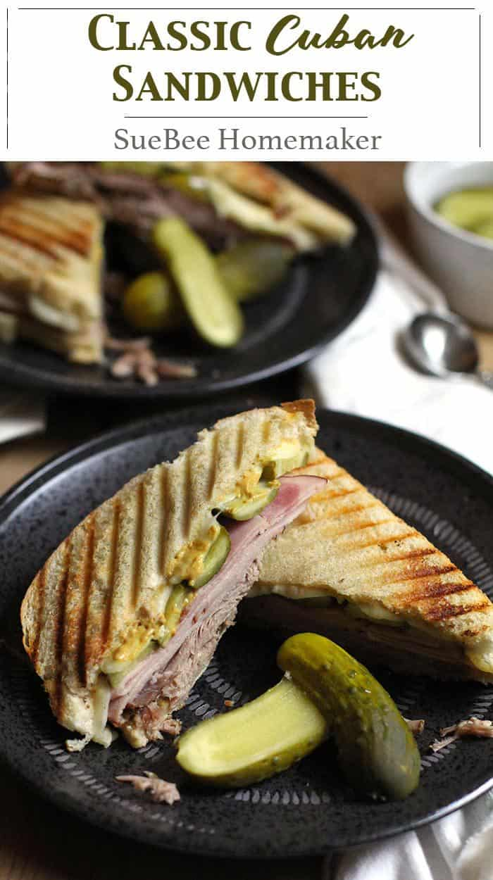 My Classic Cuban Sandwich combines pulled pork roast, deli ham, Swiss cheese, dill pickles, and mustard - all piled high on top of crusty bread of your choice. A great sandwich for hungry peeps! | suebeehomemaker.com | #classicsandwiches #sandwiches #cubansandwiches #gameday #porksandwiches
