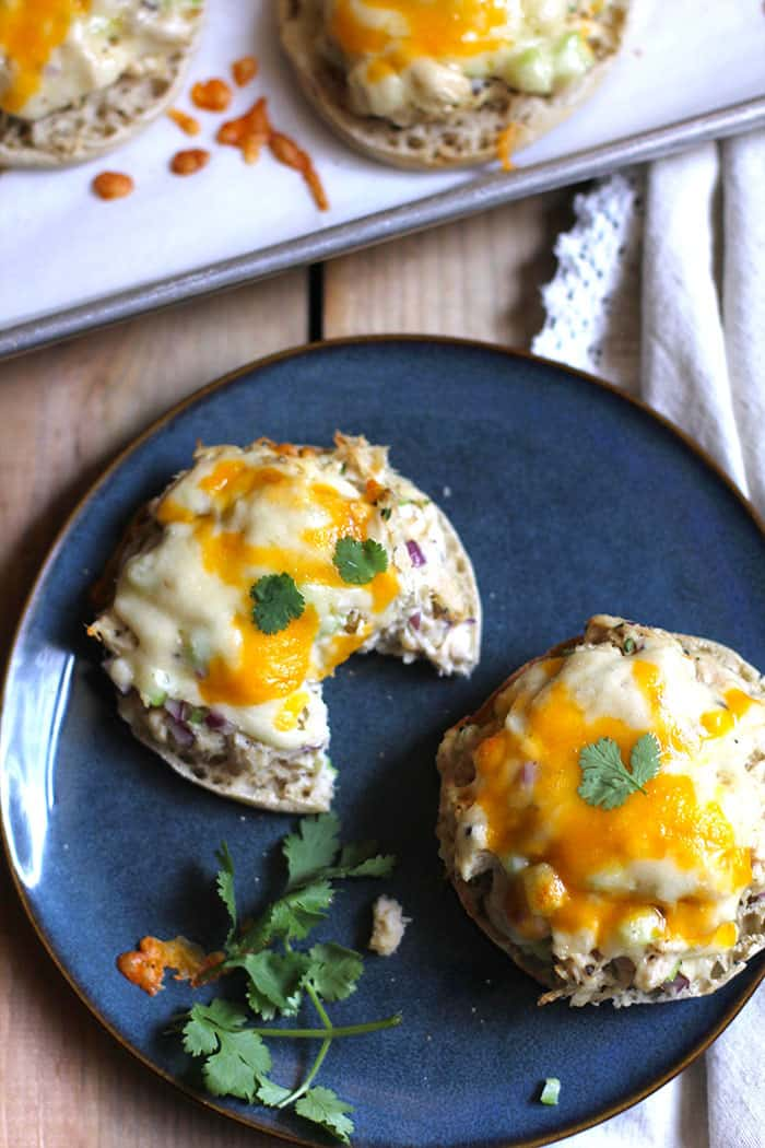 Classic Tuna Melts are a staple menu item at our home. A great, tasty, weeknight meal that includes Albacore tuna, celery, onion, and spices on an english muffin, topped with cheese! | suebeehomemaker.com