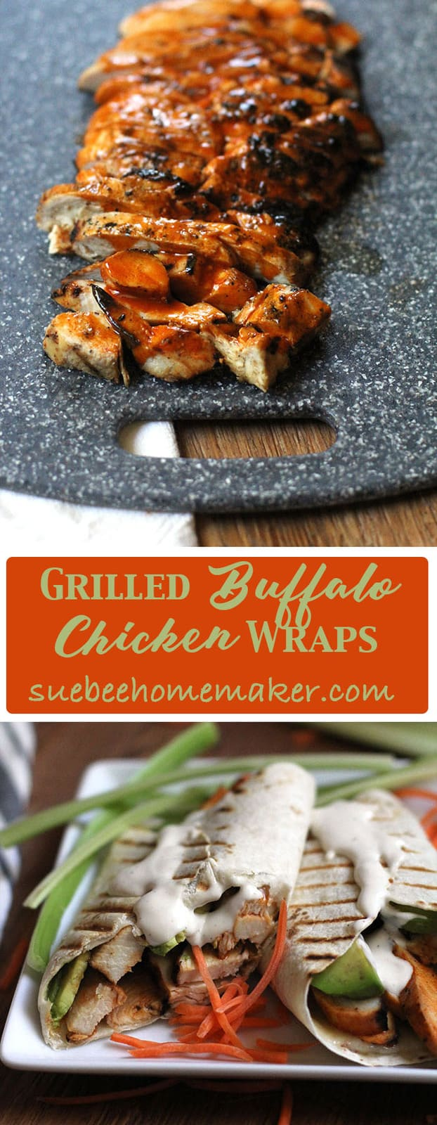 I love an easy weeknight meal, and these Grilled Buffalo Chicken Wraps fit the bill. Prep the chicken the night before, fire up the grill after work, and you are on your way to a tasty dinner! suebeehomemaker.com