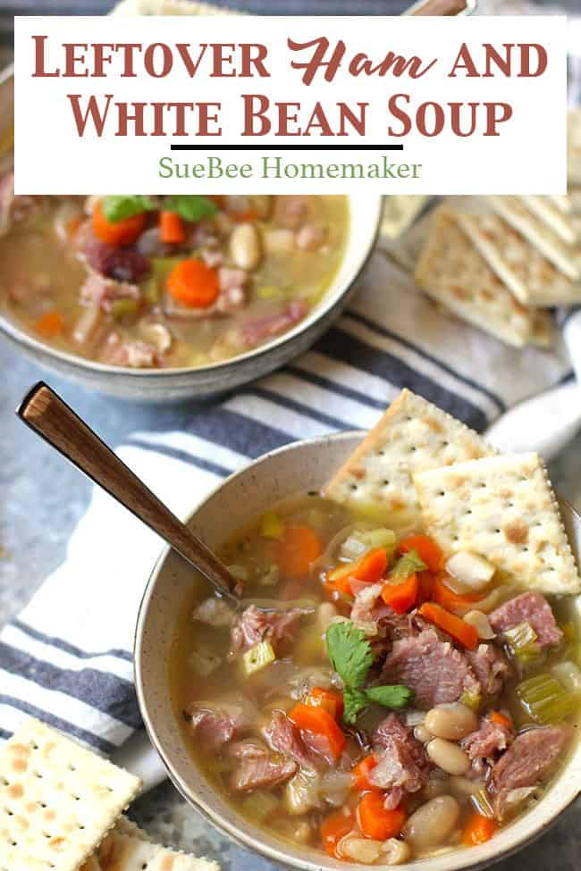 Leftover Ham and White Bean Soup is a clean-out-the-refrigerator type of meal. Boil your leftover ham bone, & add tons of veggies, beans, and leftover ham! | suebeehomemaker.com | #leftoverham #whitebeansoup #hamandbeansoup #soup