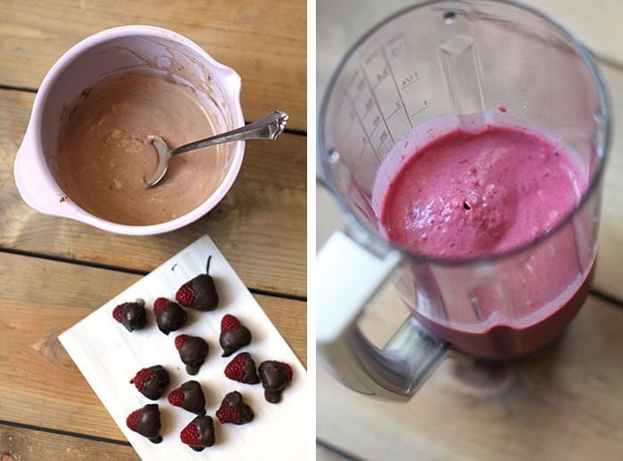 The perfect mix of raspberry smoothie with Nutella milkshake, these Raspberry Nutella Smoothies are so delightful. The chocolate covered raspberries make them even more decadent! | suebeehomemaker.com
