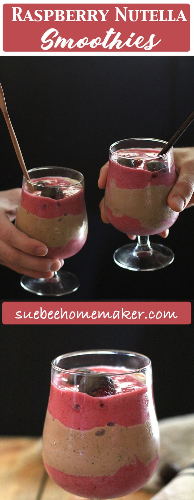 The perfect mix of raspberry smoothie with Nutella milkshake, these Raspberry Nutella Smoothies are so delightful. The chocolate covered raspberries make them even more decadent!   suebeehomemaker.com