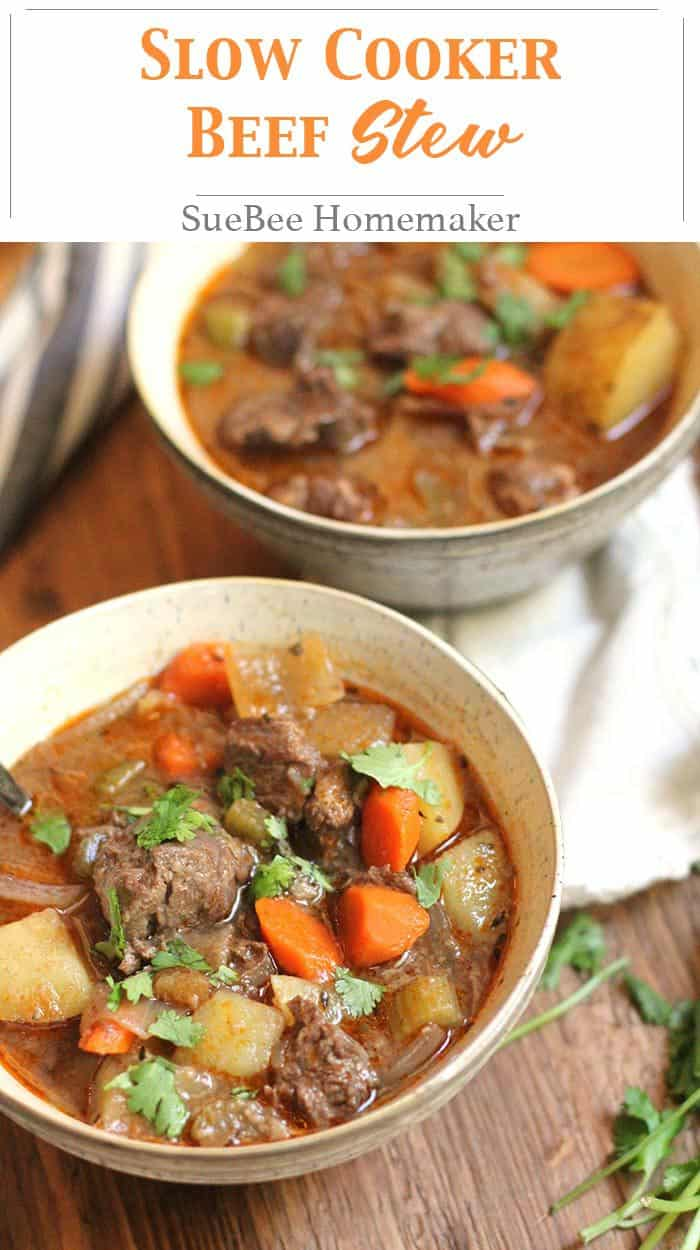 Slow Cooker Beef Stew is a winter weather dream meal. Throw everything in your crock pot and come home to a warm bowl of deliciousness! | suebeehomemaker.com | #slowcooker #crockpotstew #beefstew #stew #beefsoup