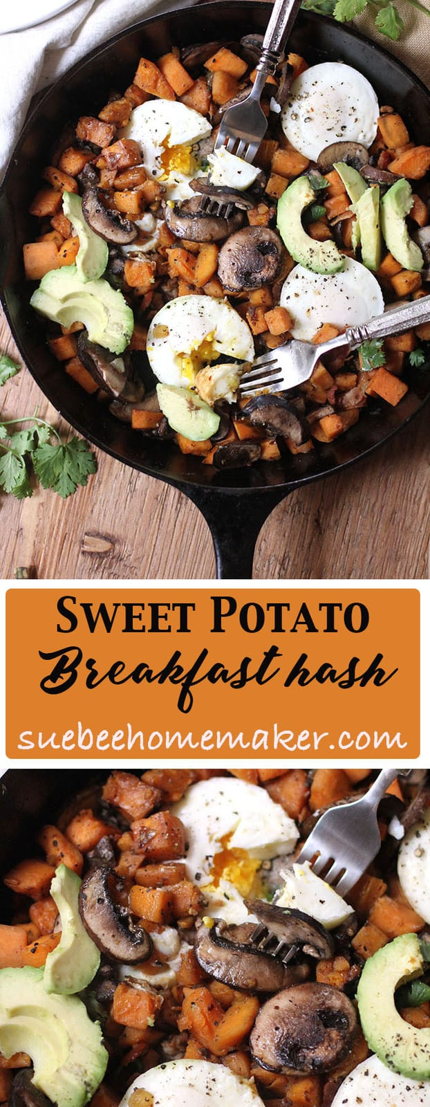 Make this easy Sweet Potato Breakfast Hash for a perfect lazy day brunch. #poachedeggs #sweetpotatoes #bacon #breakfasthash #brunch #weekendmode | suebeehomemaker.com