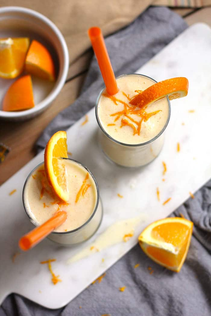 Orange Julius Smoothies are refreshing and full of vitamins. Simple to make and a perfect post work-out snack! There is no added sugar in these healthy smoothies! | suebeehomemaker.com