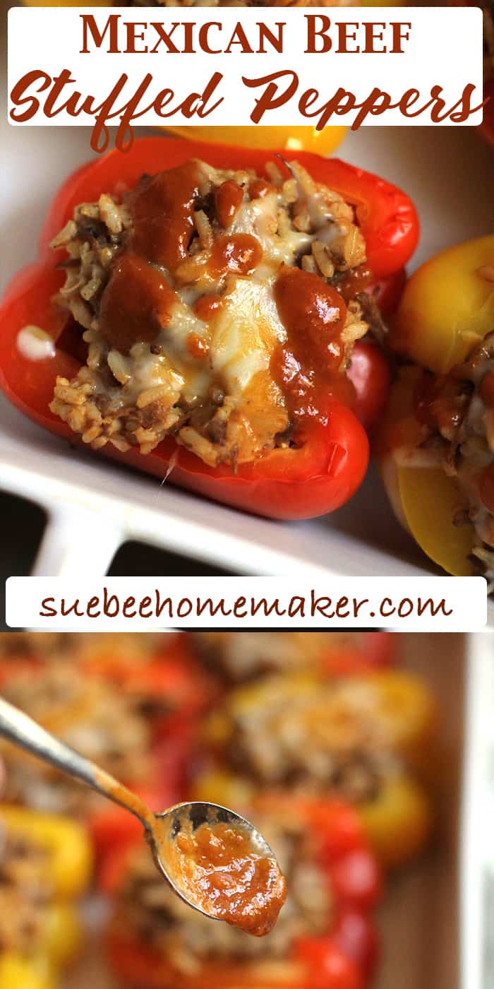 "Mexican Beef Stuffed Peppers are not only delicious, but are a colorful ""eat with your eyes first"" type of food. I love all the flavors in this dish, but you could adapt it to your liking! 