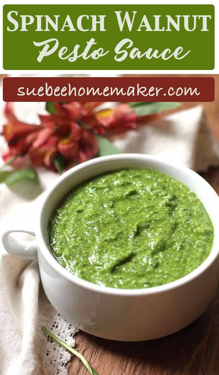 Spinach Walnut Pesto Sauce is a great way to use up extra spinach leaves, and makes an outstanding pesto sauce that you can use in countless ways. The flavor is even better than the vibrant color! | suebeehomemaker.com | #spinachwalnut #pestosauce #pesto
