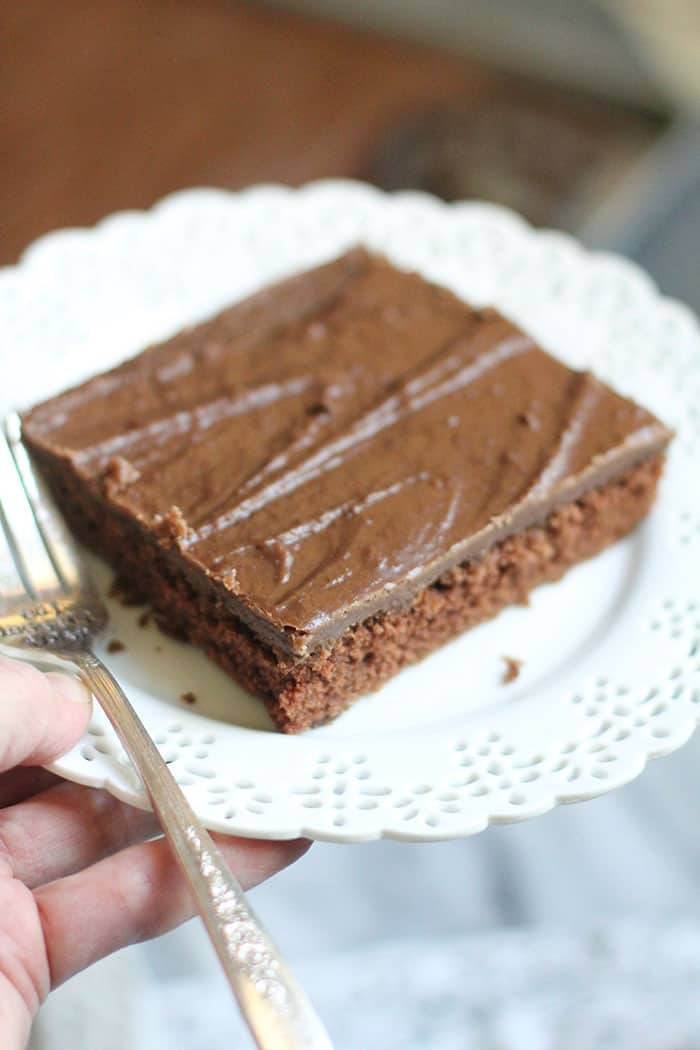 Texas Sheet Cake Brownies are one of my FAV sweet recipes ever. With all the butter and sugar in them, it should be yours too! Have a small piece and just enjoy every bite! | suebeehomemaker.com