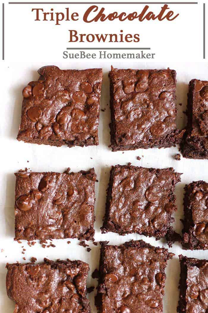 Loaded with three different types of chocolate, these Triple Chocolate Brownies are dense, moist, and fudgey. Perfect for any occasion, any time of year! | suebeehomemaker.com | #triplechocolatebrownies #chocolatebrownies #brownies #dessert