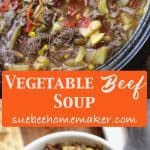 Slow cooker filled with vegetable beef soup.