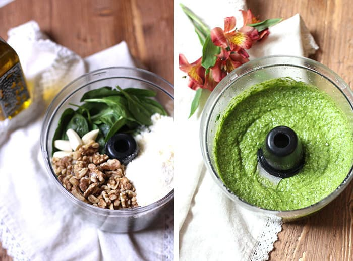 Spinach Walnut Pesto Sauce is a great way to use up extra spinach leaves, and makes an outstanding pesto sauce that you can use in countless ways. The flavor is even better than the vibrant color! | suebeehomemaker.com