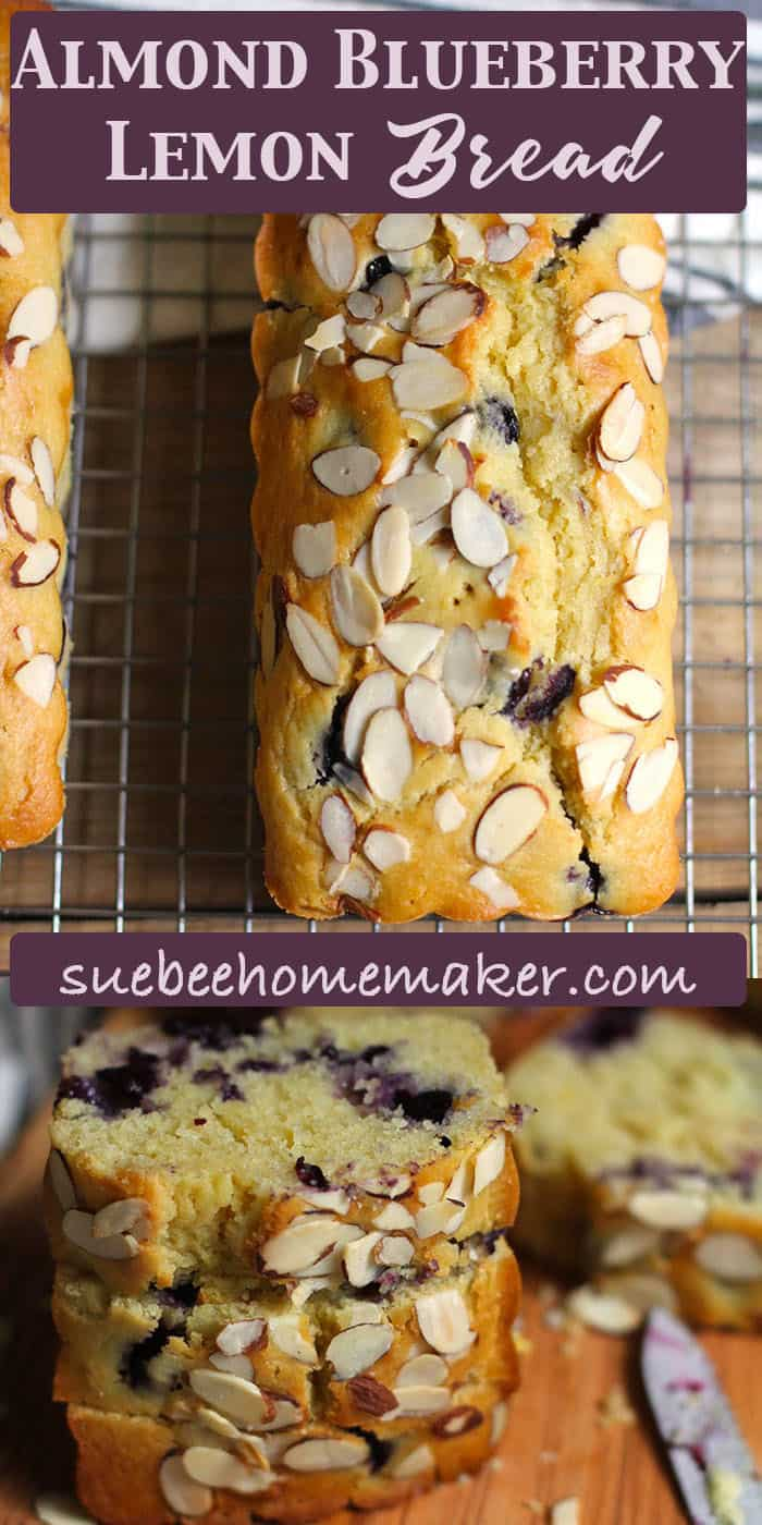 Almond Blueberry Lemon Bread is packed with blueberries and aaaaall the lemon flavors. The almond extract and the sliced almonds on top take it to the next level. SO good! | suebeehomemaker.com | #quickbread #bread #blueberrylemon #lemonbread #blueberries