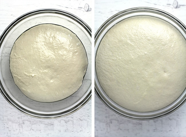 Collage of 1) pizza dough before rising, and 2) pizza dough after rising.