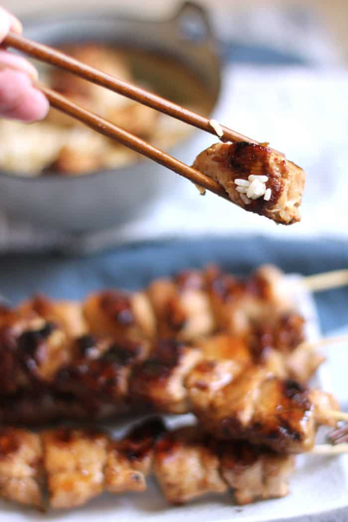 Asian Chicken Skewers are a backyard barbecue dream. Marinate some bite-sized chicken in a tangy Asian marinade, let it sit for several hours, grill it up, and then serve it over rice. So good! | suebeehomemaker.com