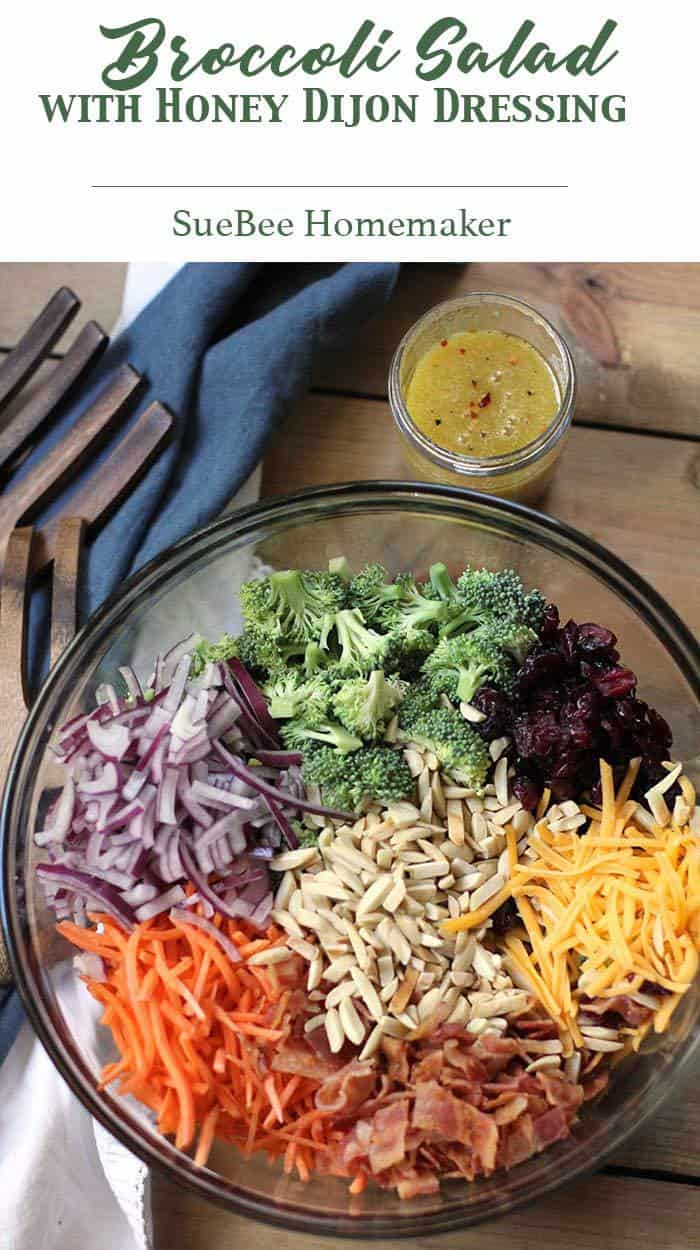 Broccoli Salad with Honey Dijon Dressing is bursting with color and nutrients. Eight cups of broccoli, with handfuls of carrots, onion, cheddar cheese, Raisins, bacon, and slivered almonds - all mixed together and topped with a delicious and tangy honey dijon dressing! | suebeehomemaker.com | #broccolisalad #broccoli #honeydijondressing #salad #healthysalad