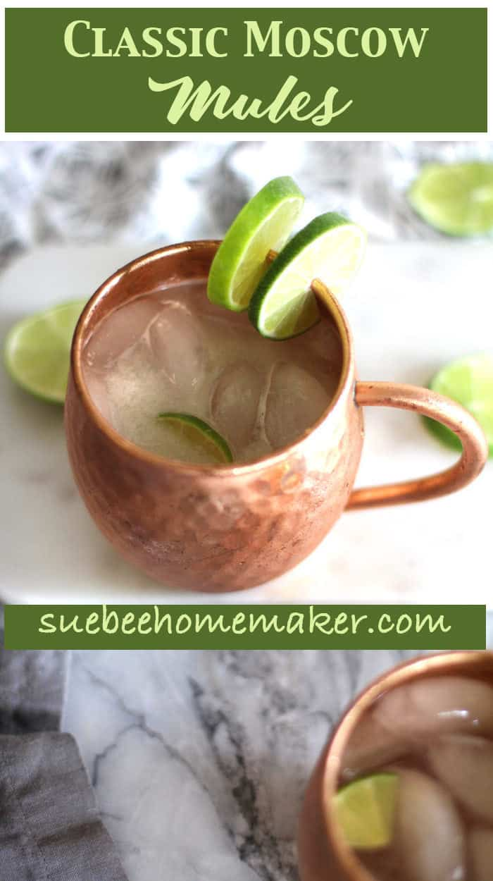 Classic Moscow Mules are one of our favorite summer cocktails. A simple mixture of vodka, ginger beer, FRESH lime juice, and plenty of ice. Easy and so refreshing for warm evenings! | suebeehomemaker.com | #classicmoscowmules #moscowmules #mules #cocktails #gingerbeer