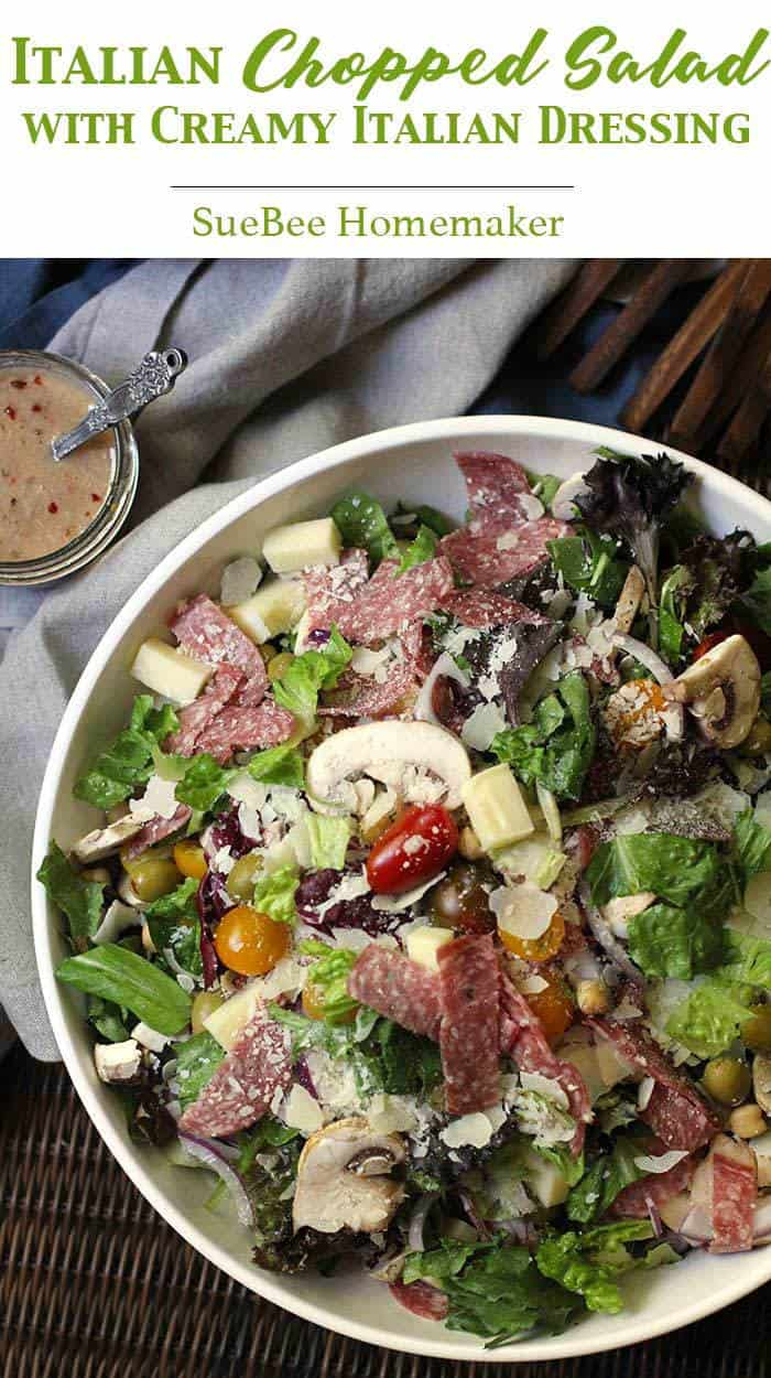 Making a large interesting Italian Chopped Salad at the start of the week will encourage healthy eating all week long. My Creamy Italian Dressing is a must! | suebeehomemaker.com | #italianchoppedsalad #choppedsalad #creamyitaliandressing #dressing #easyrecipe #salad