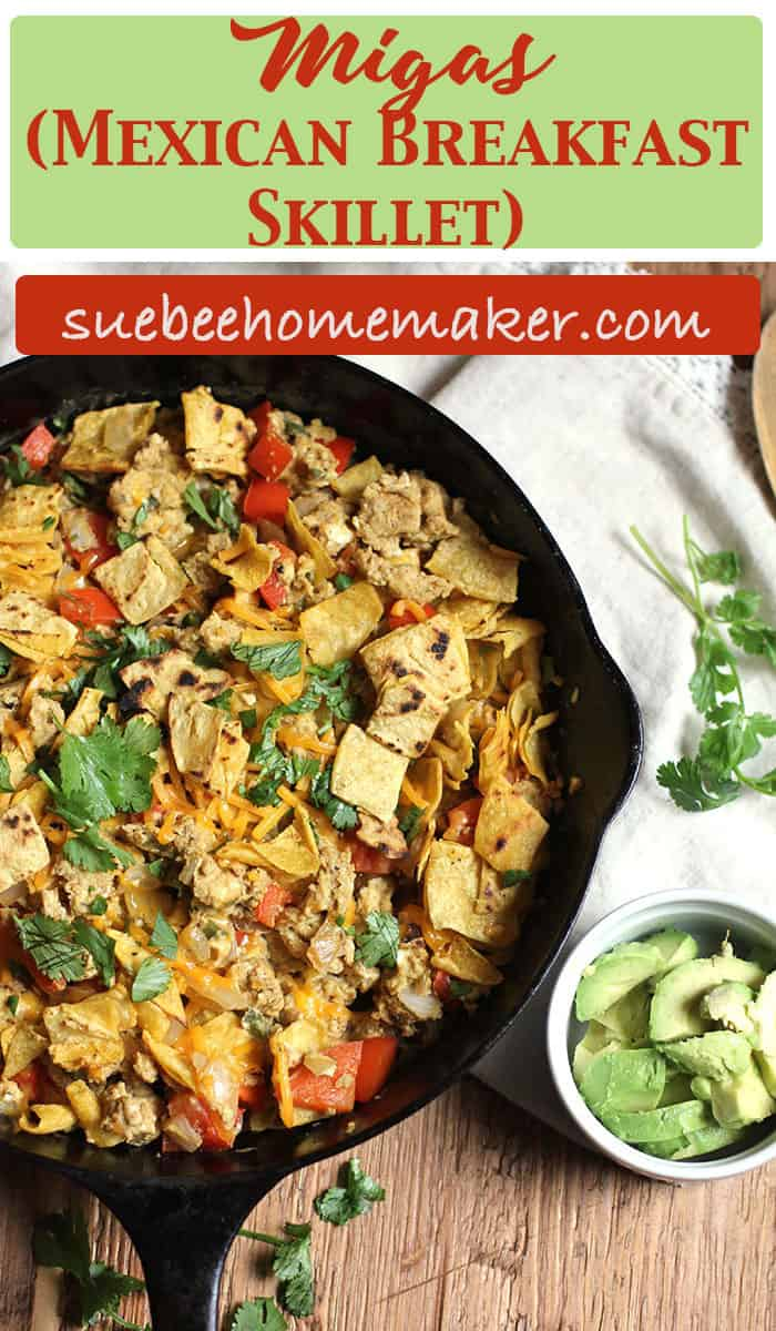 Migas (Mexican Breakfast Skillet) is a great weekend brunch dish or even a weeknight meal. This version is meatless, but there are plenty of eggs to fill you up, along with veggies and the ingredient that makes it so good - corn tortillas! | suebeehomemaker.com