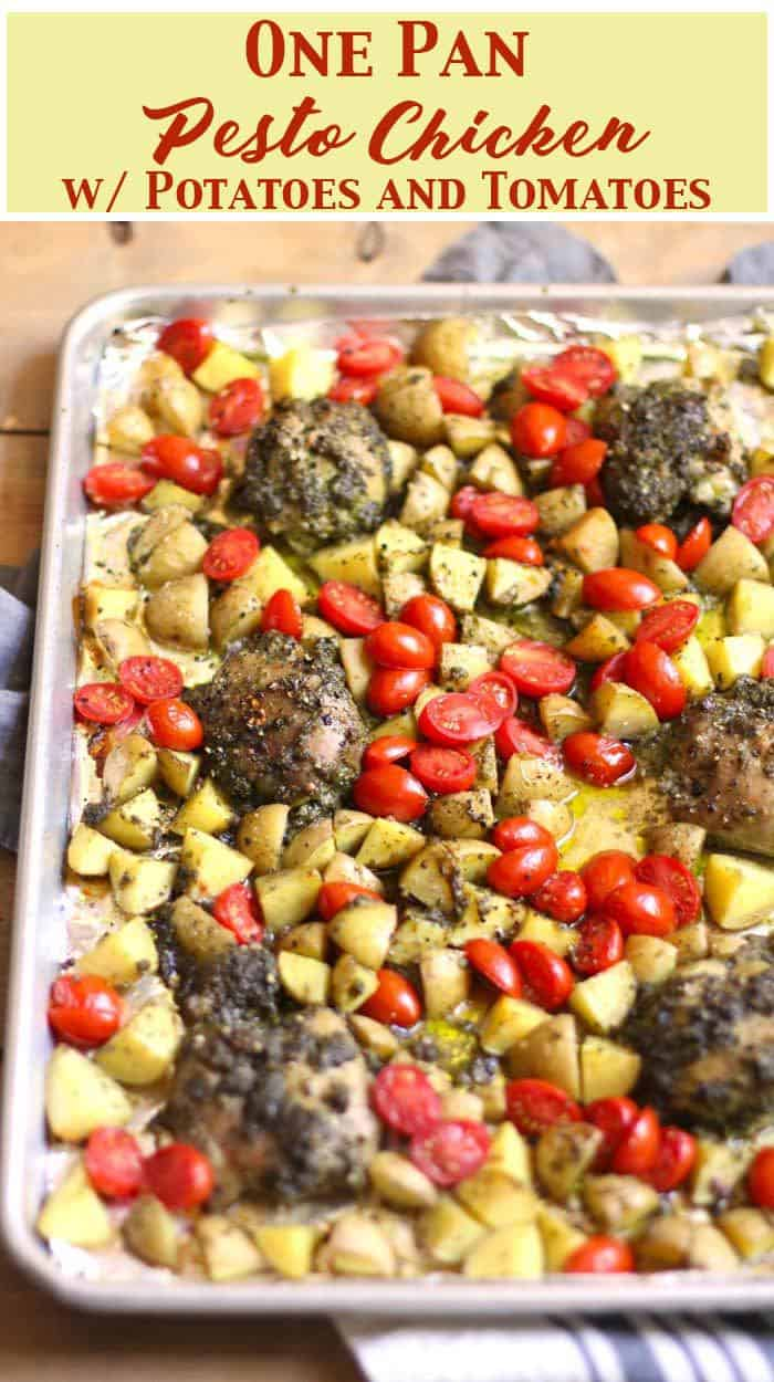 One Pan Pesto Chicken with Potatoes and Tomatoes is an easy, tasty, weeknight dinner. Prep the chicken the day before, and then everything goes into the oven on one pan! suebeehomemaker.com | #onepanmeal #pestochicken #onepanchicken #chickenthighs #pesto