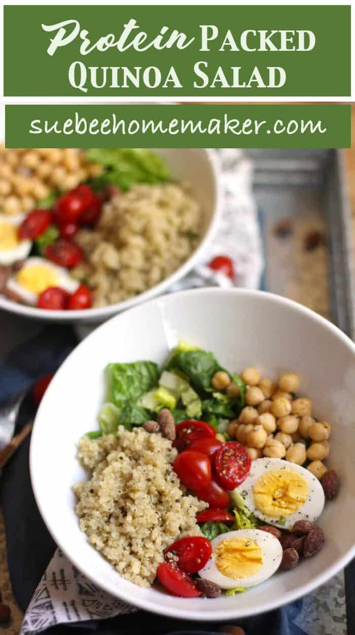 Protein Packed Quinoa Salad is everything you need in one bowl to survive a grueling day. Loaded with healthy greens, and plenty of protein packed super-foods, this salad is incredibly tasty too! | suebeehomemaker.com | protein packed #quinoasalad #highproteinsalad #salad #healthyrecipe