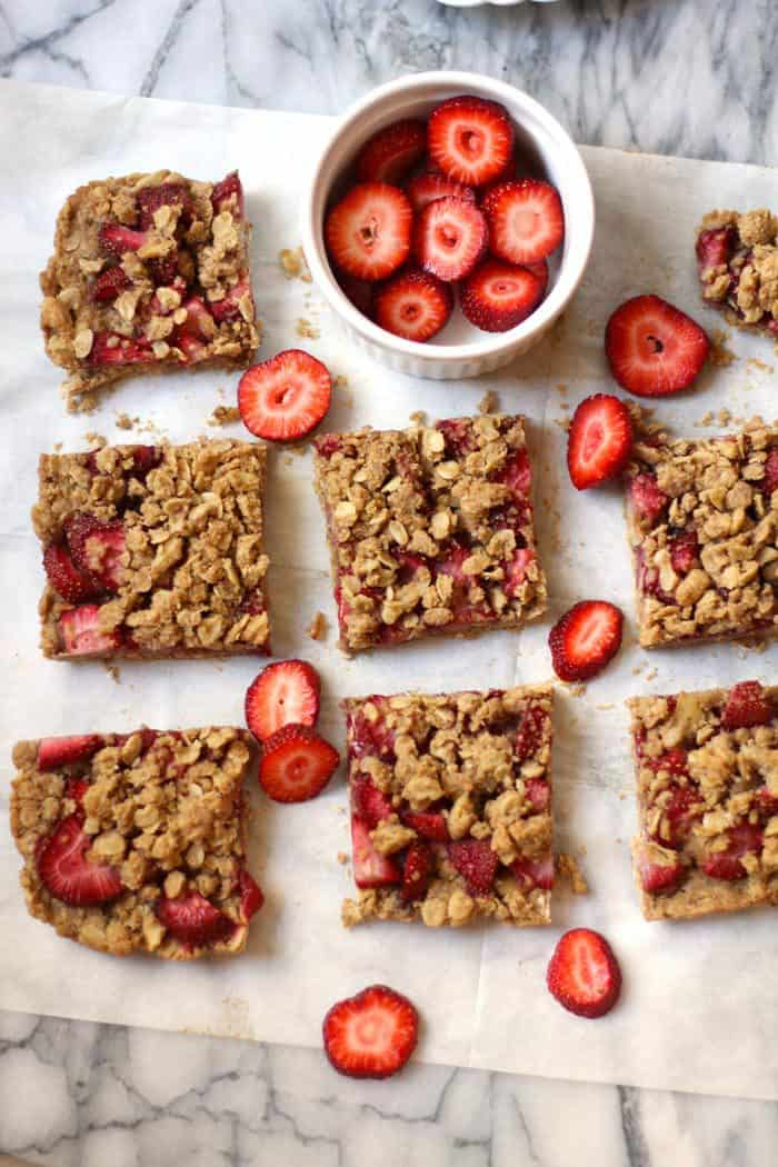 """Strawberry Walnut Breakfast Bars coming atcha. These are a """"healthified"""" version, using coconut oil and fresh strawberries. A tasty breakfast option! 