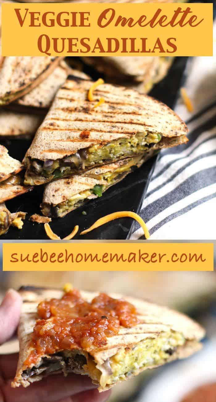 Simple and healthy, these Veggie Omelette Quesadillas are stuffed full of eggs, veggies, and cheese! Eat them plain or top them with salsa and avocado slices. | suebeehomemaker.com | #veggieomelette #omelette #veggiequesadillas #quesadillas #breakfast