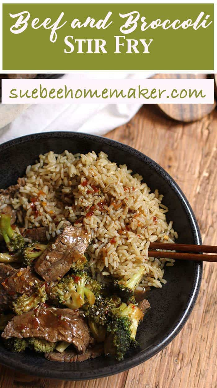 Ditch the take-out, and try this easy Beef and Broccoli Stir Fry instead. It's healthier, cheaper, and you'll know exactly what goes into your body! | suebeehomemaker.com | #beefandbroccoli #stirfry #chinesefood #takeout
