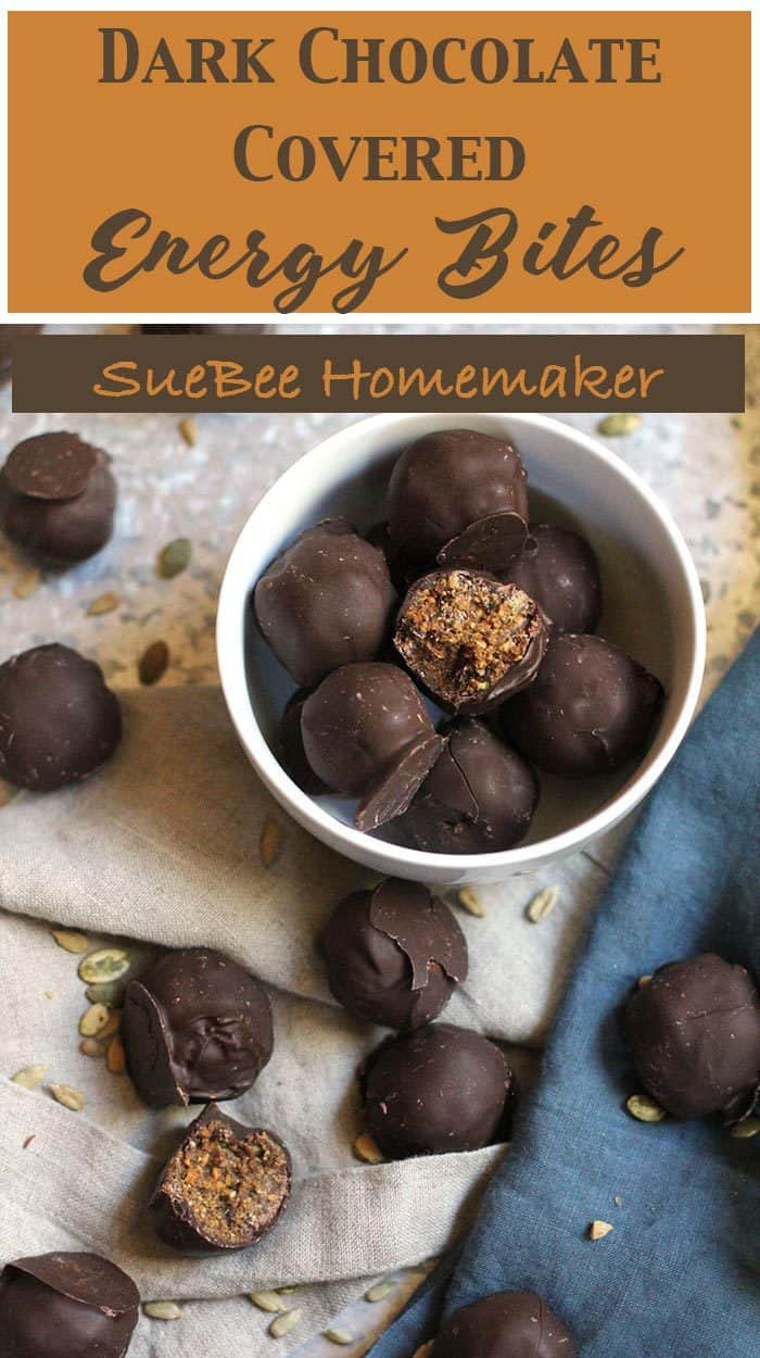 Dark Chocolate Covered Energy Bites are another spin on my original Peanut Butter Power Balls. I love the healthy nut and date center topped with a dark chocolate coating. Win/Win for balance! | suebeehomemaker.com | #energybites #darkchocolate #workoutsnacks #healthysnacks