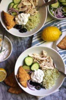 Greek Cauliflower Rice Bowls with Chicken