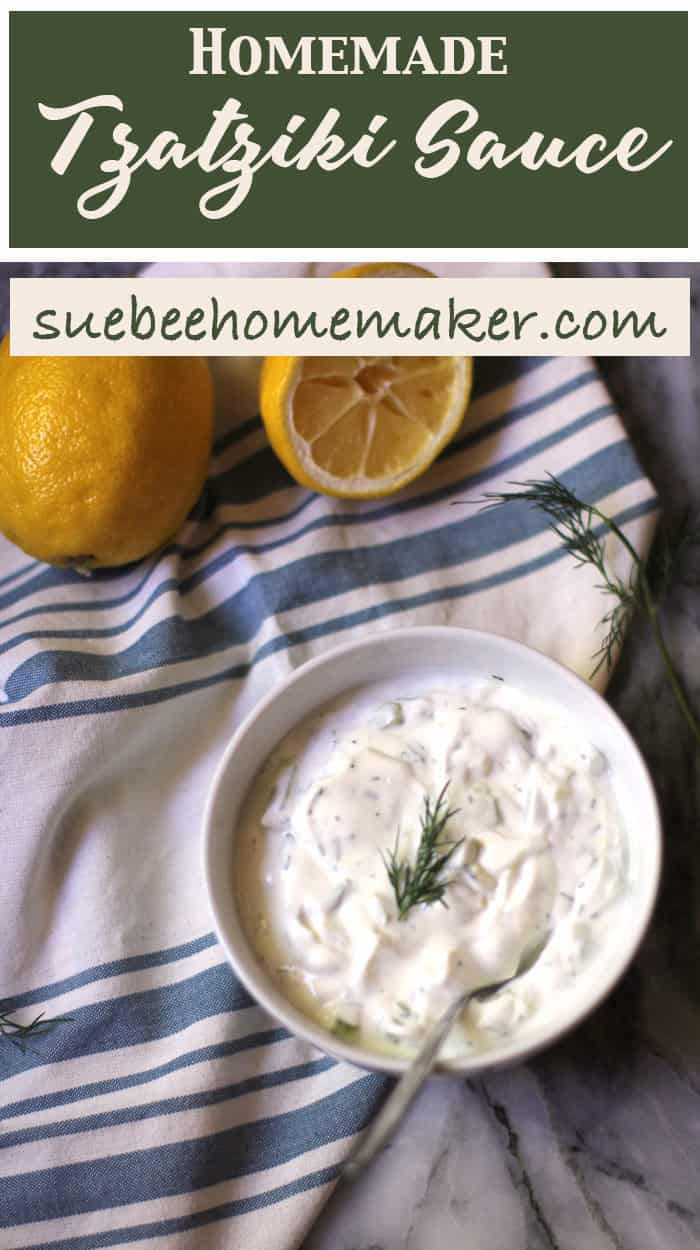 Homemade Tzatziki Sauce is the perfect accompaniment to any Greek meal, or as a dipper for pita chips. Fresh dill is key to this flavorful dip! | suebeehomemaker.com | #homemadetzatziki #tzatzikisauce #tzatziki #greekfood