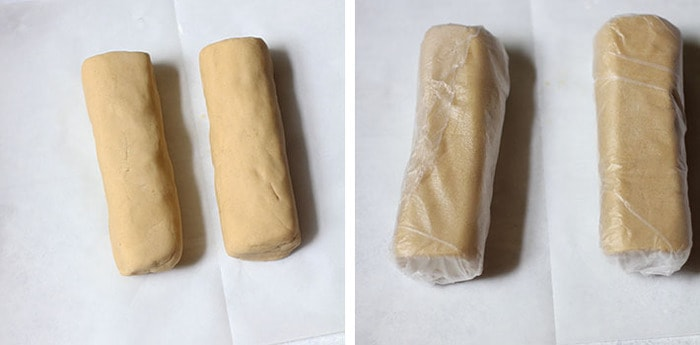 Overhead process shots of 1) shortbread cookie dough in 2 logs, on white background, and 2) shortbread cookie dough wrapped in cling wrap