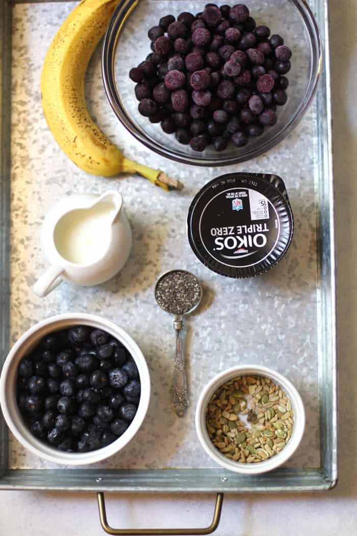 Blueberry Smoothie Bowls have become a recent obsession, combining frozen blueberries, Greek yogurt, a banana, and milk. They can be a meal replacement, a snack, or even dessert. SO good and refreshing! | suebeehomemaker