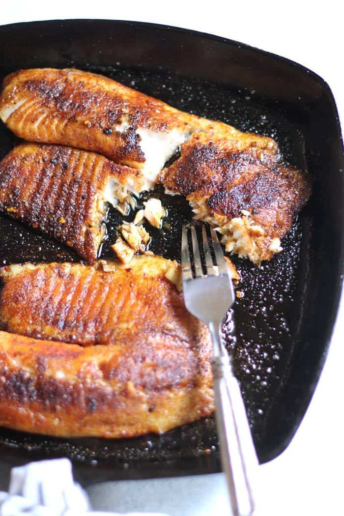 Skillet Blackened Tilapia is an easy weeknight meal, and healthy to boot. Serve it over rice and vegetables, and dinner is ready in just minutes. | suebeehomemaker