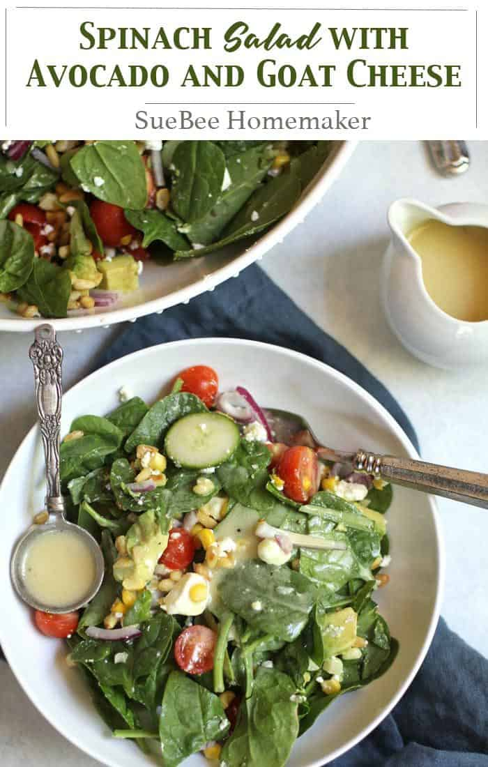 Spinach Salad with Avocado and Goat Cheese comes complete with loads of veggies and pine nuts. The creamy dressing is simple, combining olive oil, white wine vinegar, dijon mustard, and salt and pepper. So fresh, so amazing! | suebeehomemaker | #spinachsalad #salad #avocado #goatcheese #pinenuts
