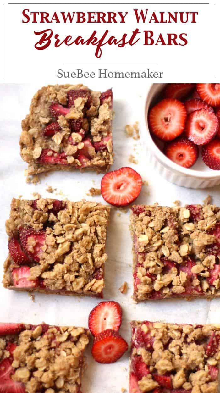 "Strawberry Walnut Breakfast Bars coming atcha. These are a ""healthified"" version, using coconut oil and fresh strawberries. A tasty breakfast option! | suebeehomemaker.com | #strawberrywalnut #breakfastbars #breakfast #strawberrybars"