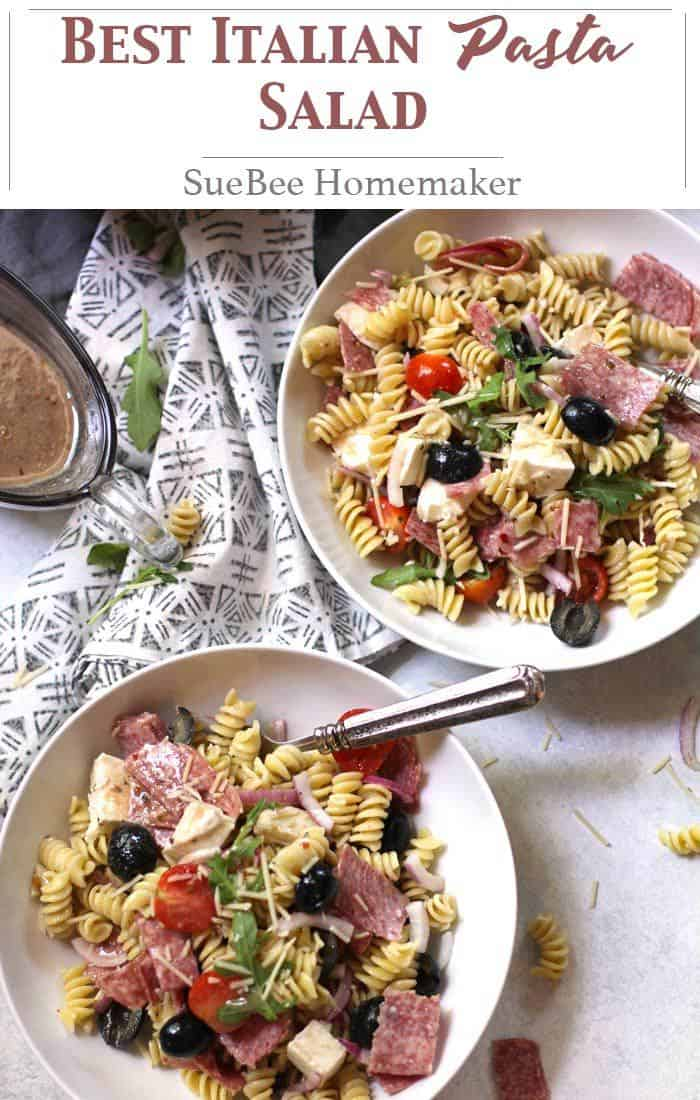 Best Italian Pasta Salad combines Italian flavors with rotini pasta and a creamy Italian dressing. The flavors of this simple pasta salad get better as it sits! | suebeehomemaker | #pastasalad #italianpasta #pasta #summertime