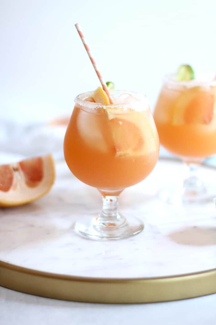 Classic Salty Dogs combine freshly squeezed grapefruit, good quality vodka, along with a nice salt rimmed glass. Super tasty and refreshing, with no added sugar! | suebeehomemaker