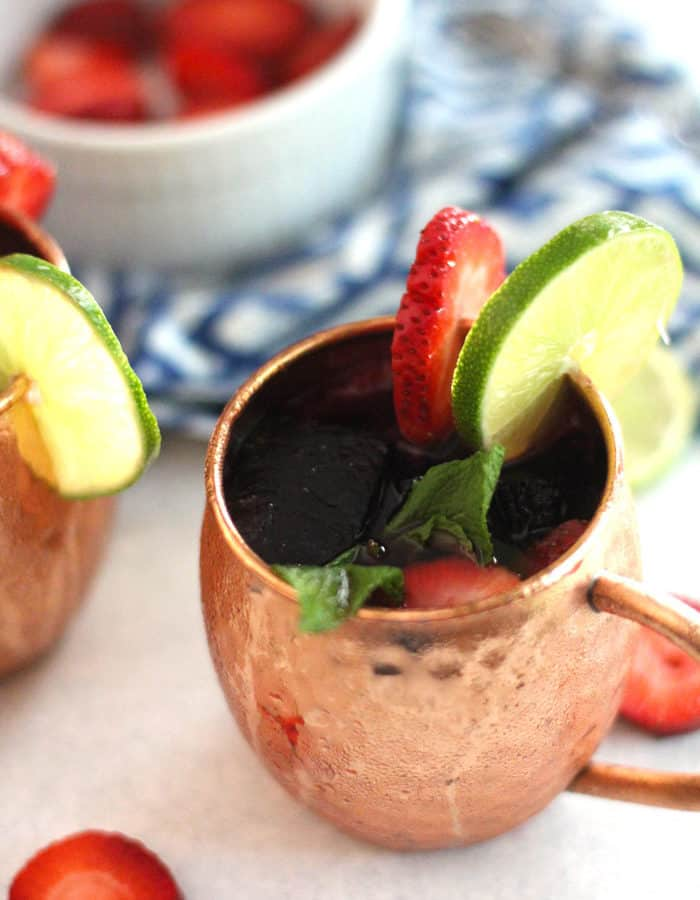 Strawberry Mexican Mules are a spin on the traditional mule recipe. Muddle some strawberries and mint, and use Tequila instead of Vodka.Use fruit flavored ice cubes for a sweeter cocktail!   suebeehomemaker.com