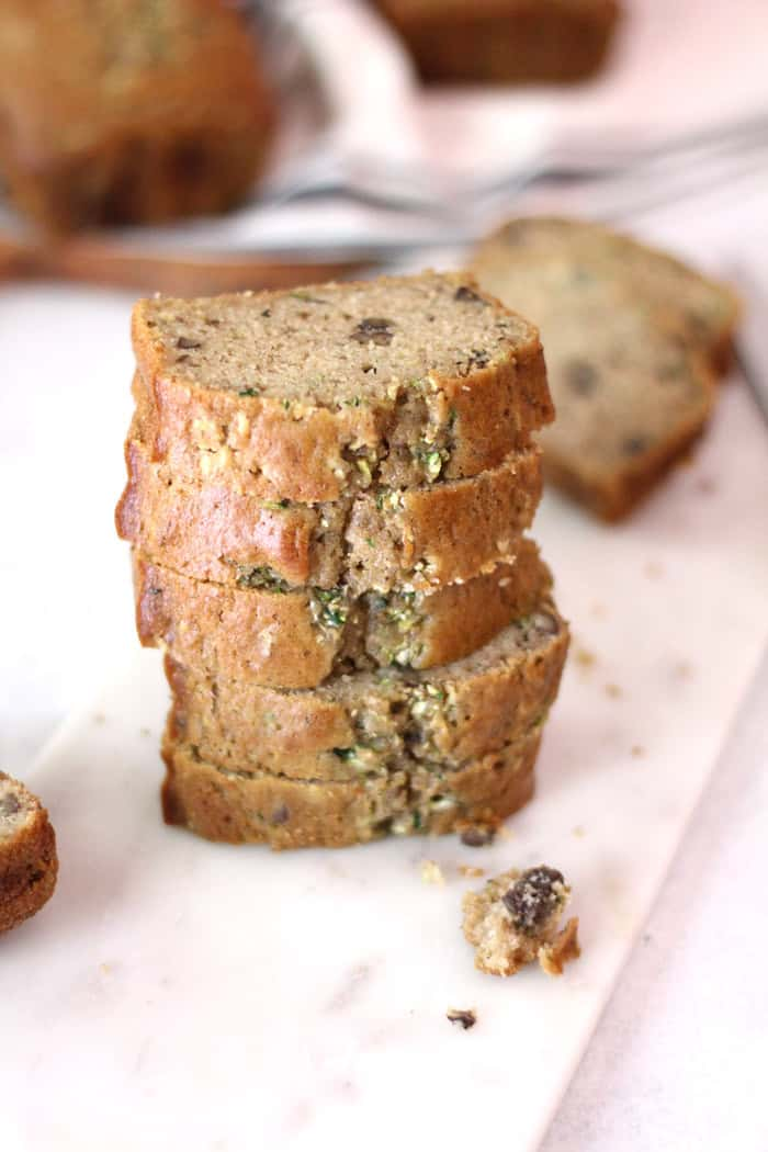I'm loving this new quick bread recipe. Zucchini Nut Bread uses fresh zucchini, chopped pecans, and less sugar - making this a lighter version of the seasonal zucchini recipe. Unbelievably moist and delish! | suebeehomemaker.com