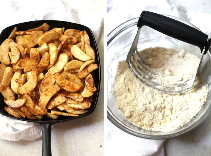 Overhead process shots of 1) sliced apples with cinnamon on top, and 2) a bowl of the topping mixture with a pastry cutter in the middle.