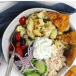 Closeup of a Greek Cauliflower Bowl with Chicken.