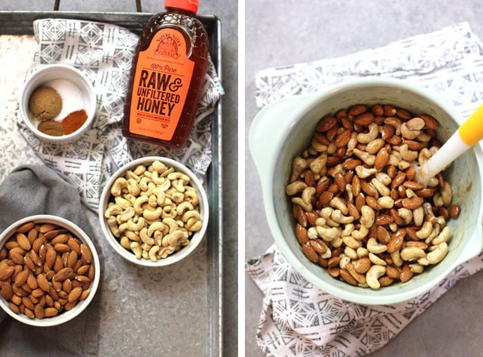 Overhead process shots of 1) the ingredients on a gray tray, and 2) the nuts combined a mixing bowl with the honey topping on it.