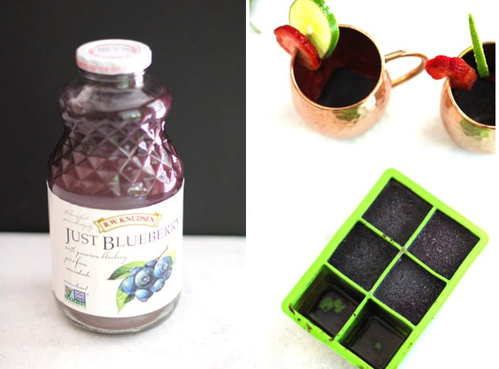 Collage of the mule ingredients, including the flavored ice cubes.