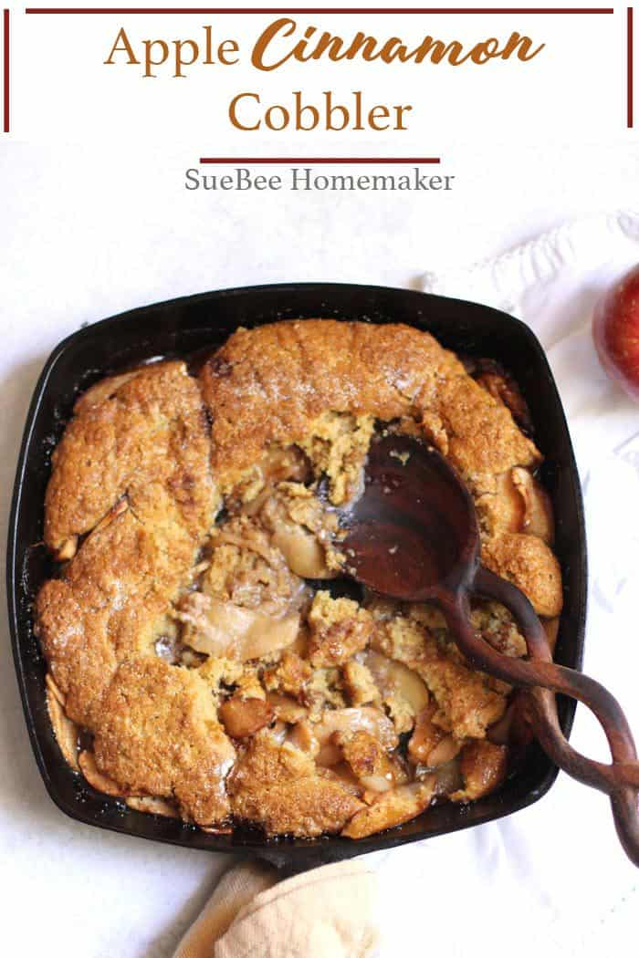Apple Cinnamon Cobbler is gonna be your new favorite fall dessert. Use your favorite apples combined with the best cobbler topping in the universe! | suebeehomemaker.com | #applecinnamoncobbler #applecobbler #cobbler #falldesserts #appleseason
